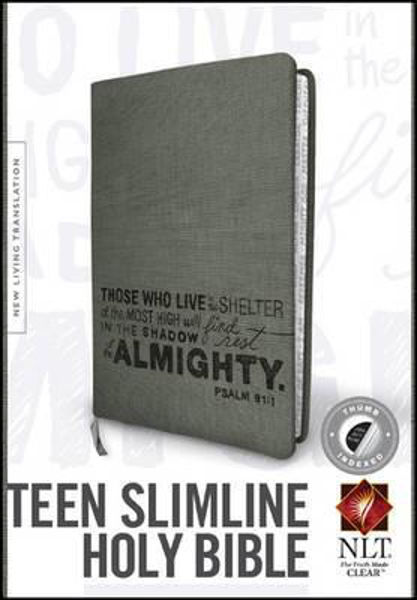 Picture of NLT TEEN SLIMLINE BIBLE Charcoal Thumb Index Leatherlike